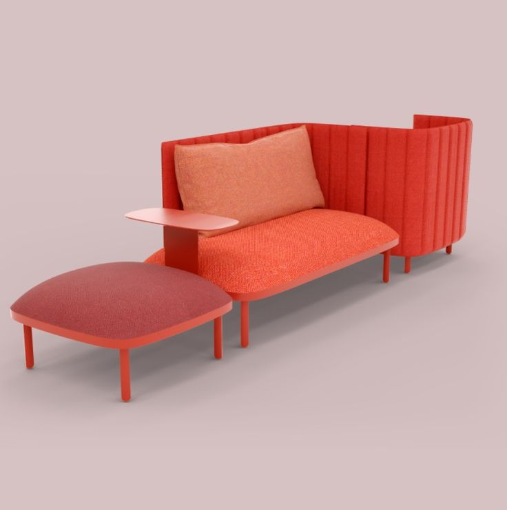 Ophelis SUM Modular Back To Back Sofa In Red, Highly Configurable And  Option For Power