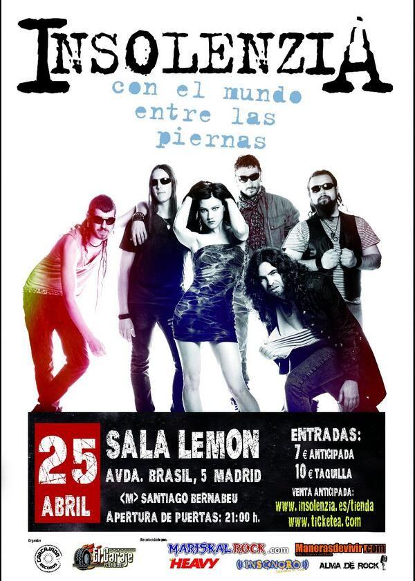 #Cartel del #concierto en #Madrid del 25 de #abril el la Sala Lemon. #Rock #rock&roll #rockmusic #música #music #directo #concert #ConElMundoEntreLasPiernas