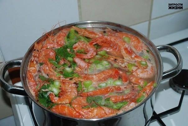 Бульон для креветок: в воду добавить черный перец горошком, лавровый лист, половинку лимона, нарезанного дольками, гвоздику, зубчики чеснока и пару ложек томатной пасты. После варки дать креветкам постоять в бульоне 10 мин.  Соус для креветок: очистить и раздавить зубчик чеснока. Мелко нарезать и обжарить красный острый перец на оливковом масле с чесноком. В этот горячий соус добавить сок одного лимона, зелень укропа и специи по вкусу.