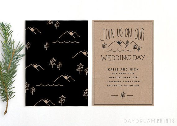Rustic Wedding Invitation Modern Hipster By Daydreamprints