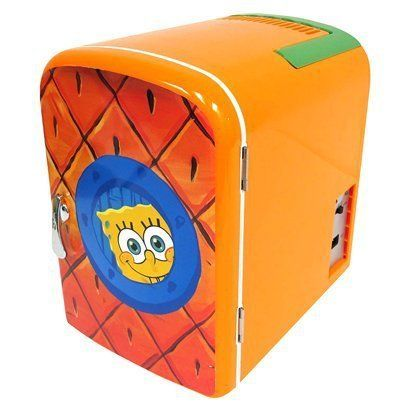 Nickelodeon SpongeBob Squarepants Personal Mini Fridge Refrigerator by SpongeBob SquarePants. $49.99. This SpongeBob Mini Fridge is very compact and portable. This is perfect for rec rooms and dorm rooms. This holds up to 6-12 oz cans or 4 bottles. This has a collapsible handle for easy carrying. There is no assembly required.