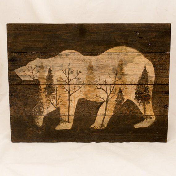 Woodland Animal decor, Rustic pallet wood bear, Log cabin decor, Masculine wall art, Woodland Bear wall decor