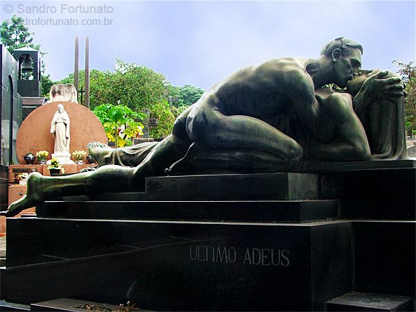 """Passion...""""The Last Goodbye"""" by Alfredo Oliani, is the tomb of Family Cantarella, Sao Paulo in the cemetery."""