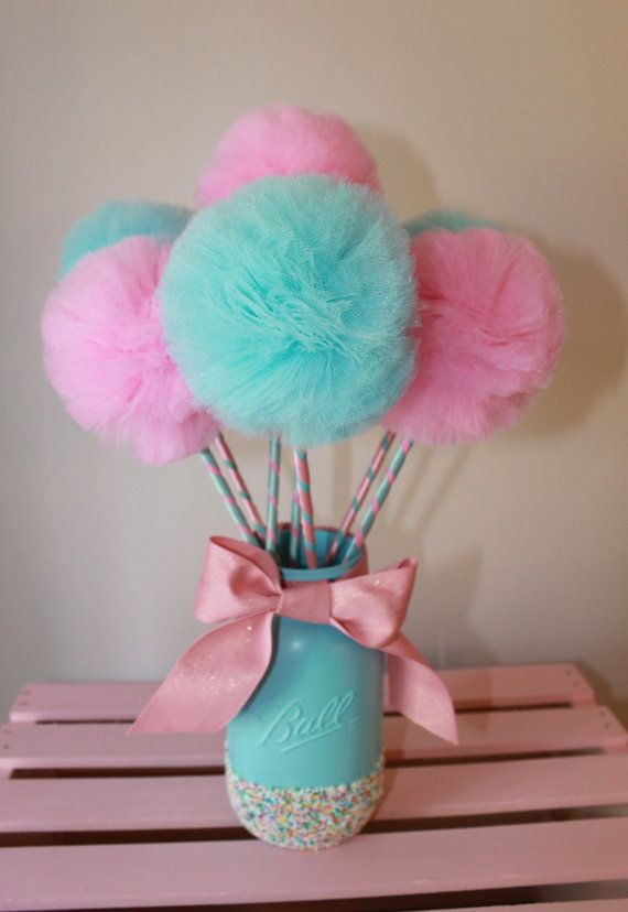 Cotton candy pink and blue premium tulle pom wands
