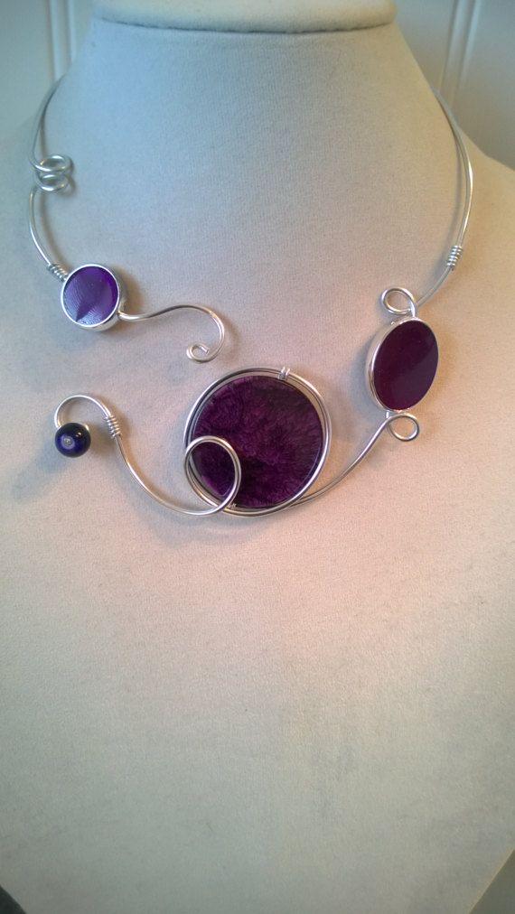 Wedding jewelry Purple jewelry Purple necklace Open collar