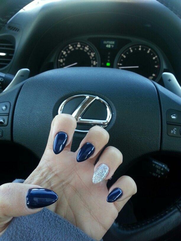 My nails. #Navy #Glitz #Stiletto yass I want to do this!