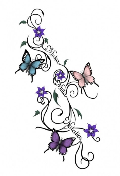 Butterflies tattoo sketch. By: Waktattoos.com I LIKE THIS IDEA BUT I WOULD USE…