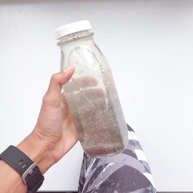 Super hydration! Chia water  Filtered water, a scoop of chia seeds, a little maple syrup and fresh lemon juice! Ahhhhhhh!