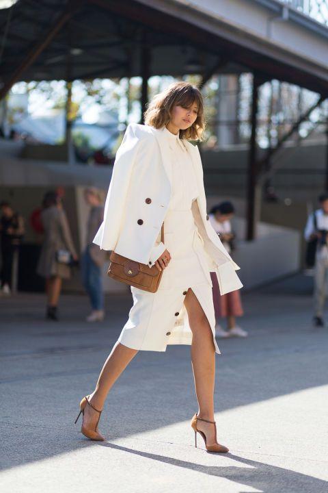 91 street style photos of Australian fashion week: White on white business chic attire