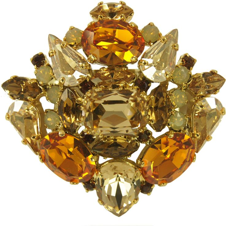 Yellow Pin with Swarovski Crystals
