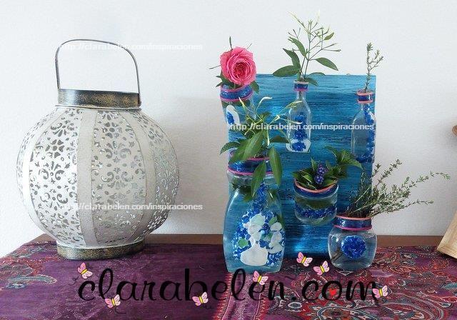 Como decorar botes de cristal con teselas de botellas de - Manualidades con vasos de plastico ...