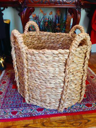 Large woven seagrass basket for use as general storage, toy basket, firewood holder, jardiniere planter, or cache pot planter: