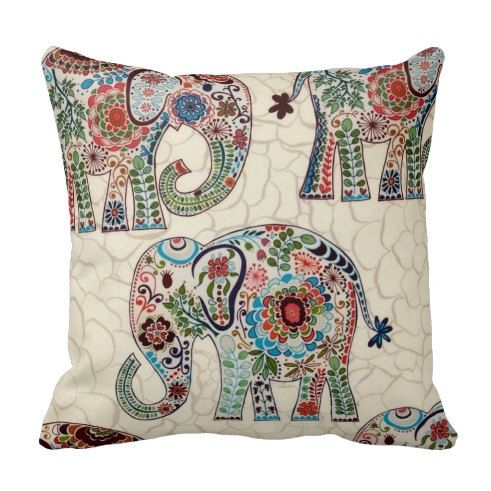 Elephant Suzani Throw Pillow Cover by by PrimalVogueHomeDecor