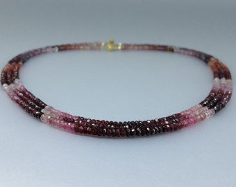 Three string red Spinel necklace with 14K gold plated clasp - shades of love - gift idea for valentine's day by gemorydesign. Explore more products on http://gemorydesign.etsy.com
