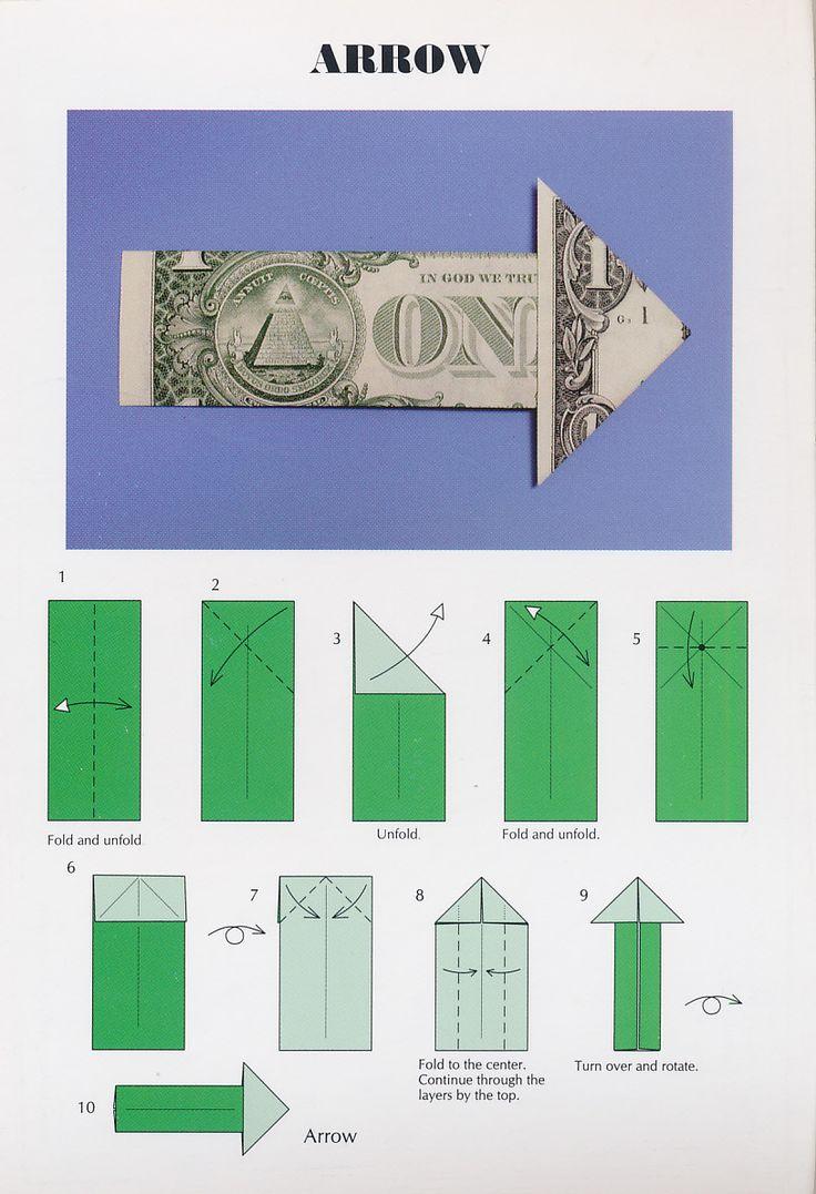 Easy Dollar Bill Origami Arrow Postcard from Barb in Ocala, Florida