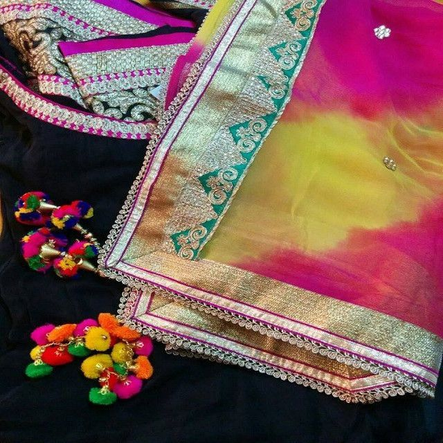 Yellow and Magenta Lehariya with Zari Border - Traditional Indian Leheriya Dupatta with fancy latkans. This can be teamed up with Yellow / Magenta / Black Salwar Suit or Lehenga