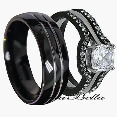 his tungsten hers black stainless steel 4 pc wedding engagement ring band set - Womens Black Wedding Rings