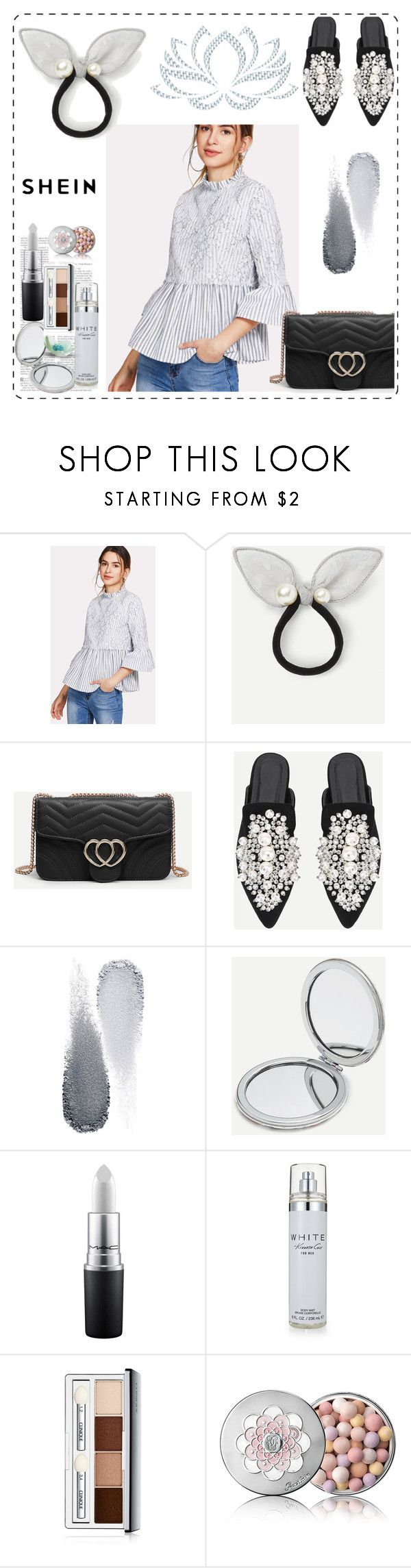 """SHEIN Floral Lace Applique Striped Smock Top"" by raniaainar ❤ liked on Polyvore featuring Clé de Peau Beauté, Kenneth Cole, Clinique and Guerlain"
