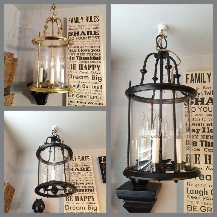 Before And After Brass Light Fixture Spray Painted With