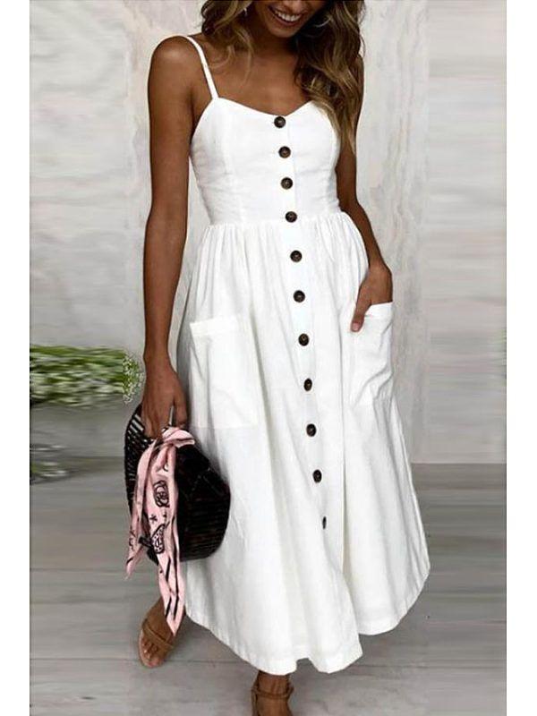 706ed4f70b92 Spaghetti Strap Single Breasted Plain Sleeveless Maxi Dresses -  stylemoco.com