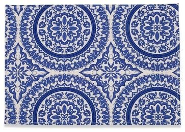 Medallion Placemats, Blue traditional-placemats