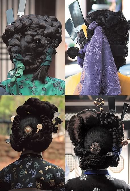 And this is why I need at least one Asian outfit for SCA events. Even the best of medieval European hairstyles in that time period were just not this awesomely ornate. Joseon hairstyles.