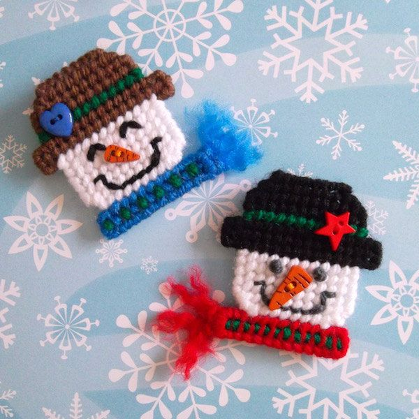 "Plastic Canvas: Frosty Folks Snowman Magnets (set of 2) -- ""Ready, Set, Sew!"" by Evie"
