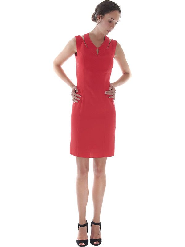 Short cherry red halter-neck dress - Pastore Couture