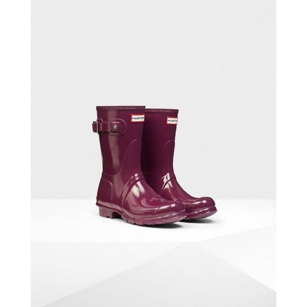 Hunter Women's Original Short Gloss Wellington Boots Purple - Hunter Boots