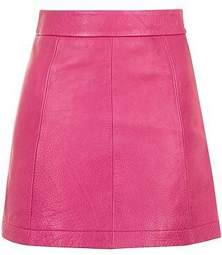 Womens cerise pink leather a-line skirt from Topshop - £75 at ClothingByColour.com