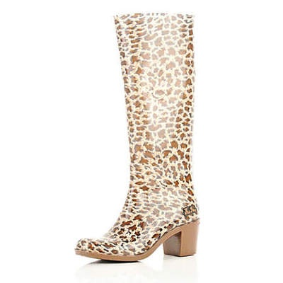 NEW RIVER ISLAND BROWN HEELED LEOPARD PRINT FESTIVAL WELLIES WELLINGTONS RARE