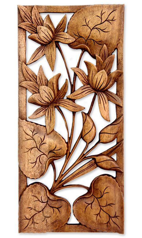 Wall Relief Panel Wood Hand Carved Floral 'Lotus Love' NOVICA Bali Art