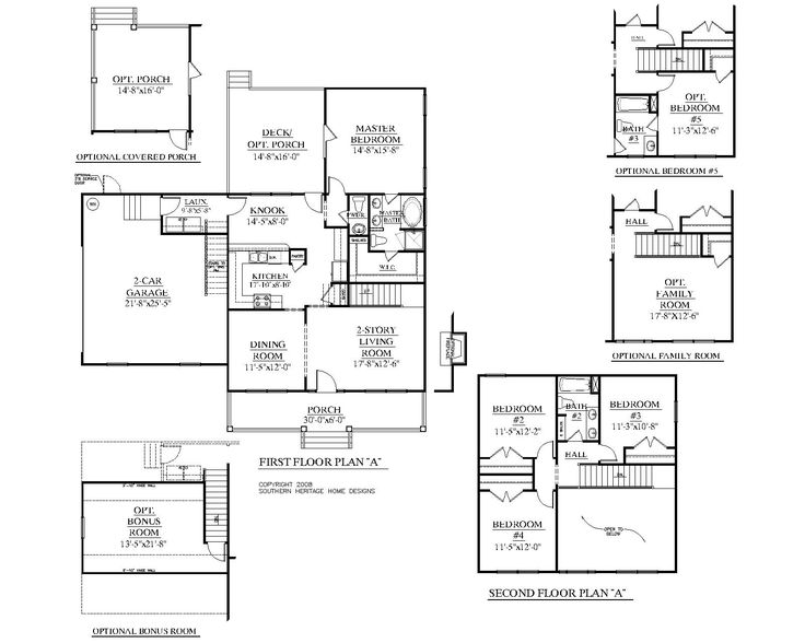 Pin by southern heritage home designs on two story house for Two car garage plans with bonus room
