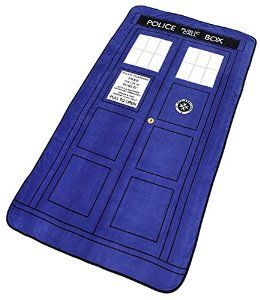"""Doctor Who Blanket - Large Dr. Who TARDIS Micro Raschel Throw - 50"""" x 89"""" Disc: Affiliate Link"""