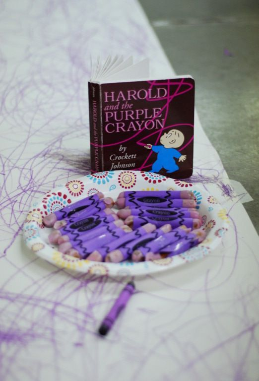 Baby Toddler Book Club activity and snack based on Harold and the Purple Crayon by Crockett Johnson.