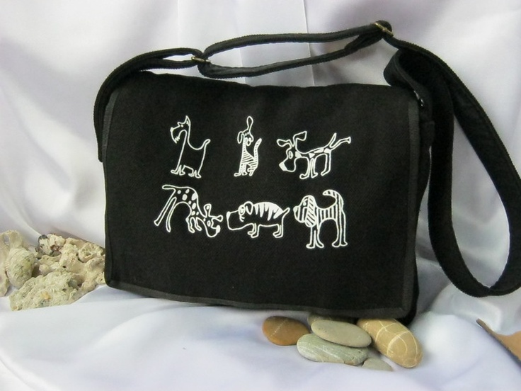 This bag is one of my new product.  The bag is made of strong canvas, screenprinted with my unique designed  dogs. The bag has 2 pockets inside a...