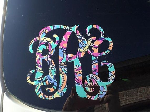 Monogrammed Car Decal Lilly Pulitzer by MonogramedPerfection