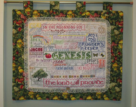 Bible Book of Genesis One-of-a-Kind Folk Art Finished Cross Stitch Collage with Free Shipping