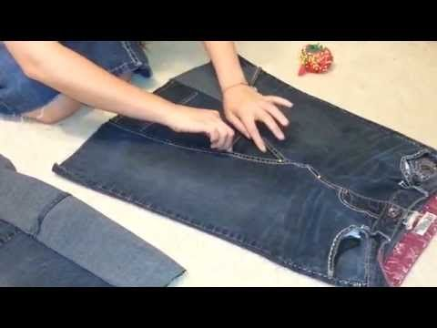 How to make a skirt out of jeans. - YouTube