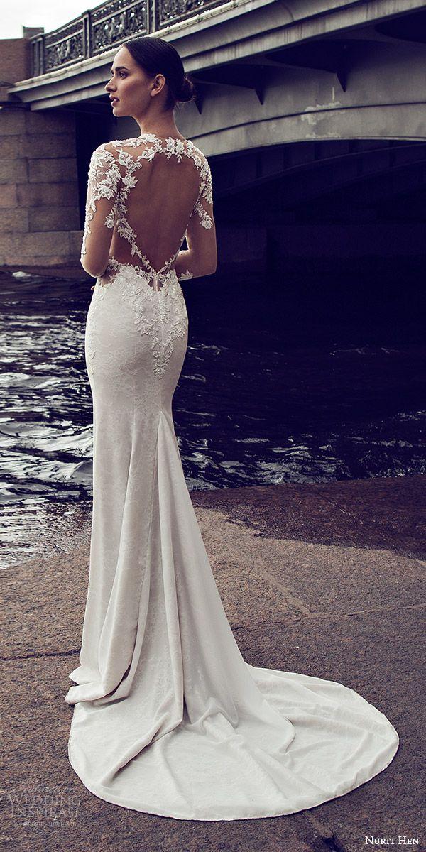 nurit hen 2016 bridal illusion long sleeves split sweetheart illusion bodice sheath wedding dress (07) mv sexy keyhole back medium train