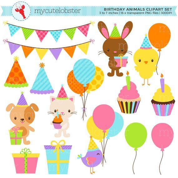 Cute Birthday Animals Clipart Set Clip Art Set Of Party Etsy Animal Clipart Animal Birthday Clip Art