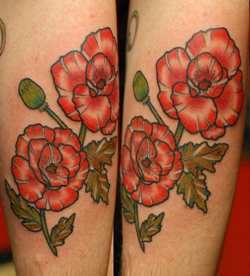 Traditional poppy tattoo