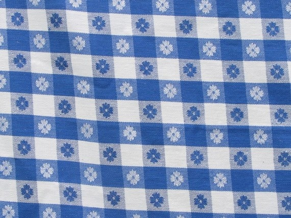 Great Vintage Blue And White Check Tablecloth By PassedBy On Etsy