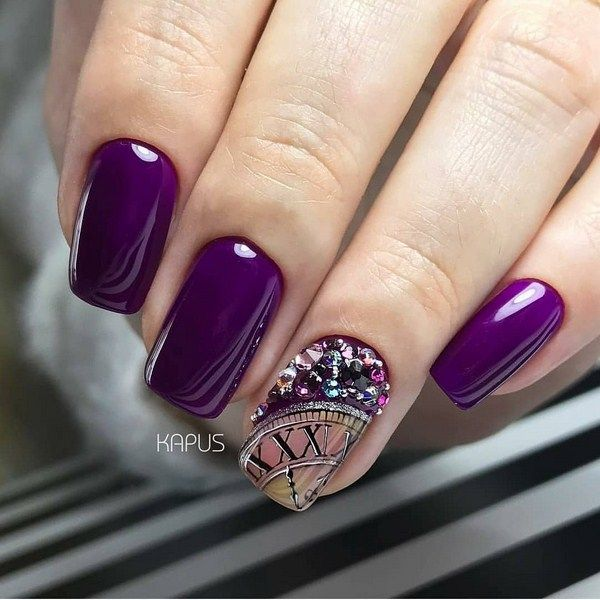Модный маникюр на Новый год 2022: фото новогоднего маникюра, тренды | Фиолетовый маникюр, Дизайнерские ногти, Красивые ногти