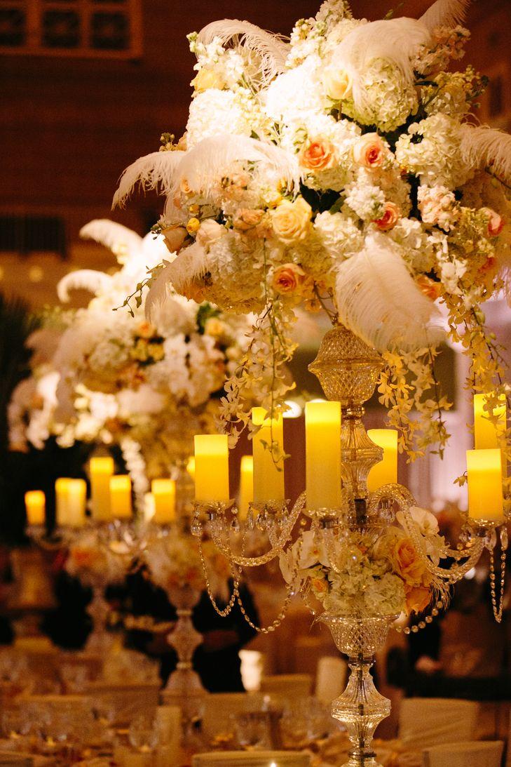 Rent ostrich feather centerpieces wedding amp party centerpiece rentals - Glam Ostrich Feather Centerpieces Zak Events Sara Wight Photography Https Www