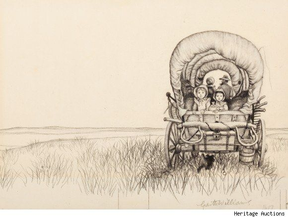 """original cover sketch for laura ingalls wilder's """"little house on the prairie"""" by garth williams"""