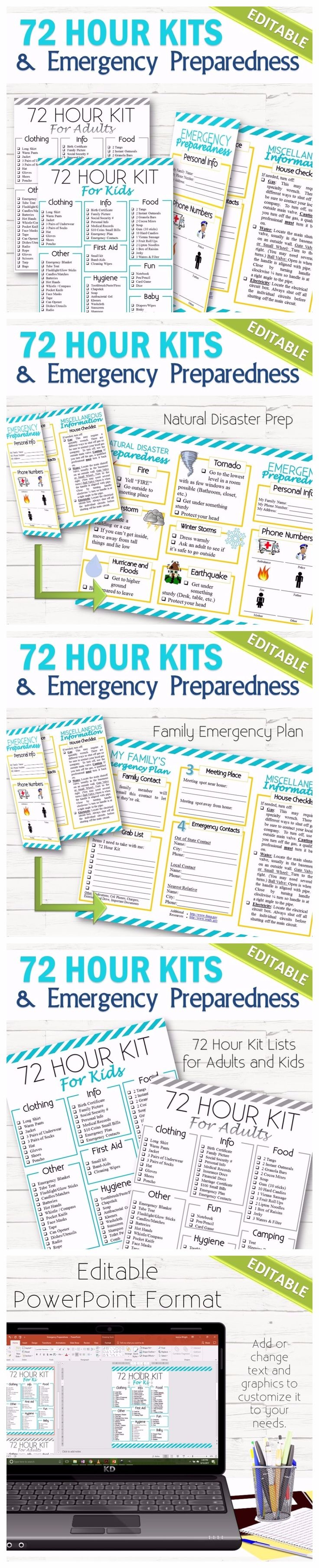 "A completely editable and simple way to help children and your family be ready for an emergency or natural disaster. The 72 Hour Kits lists are broken down by categories (food, clothing, etc.) to make gathering items easier and also includes ideas for games. The Preparedness Brochure is geared to have an ""All-in-One"" list so you can have phone numbers, family plan, what to grab, and what to do all on one sheet."
