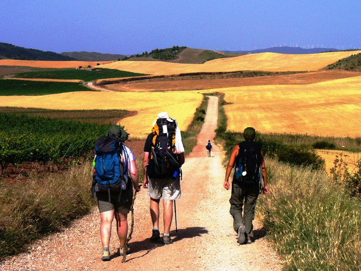 3 amigos walking El Camino de Santiago de Compostella, Spain  www.finisterra.ca