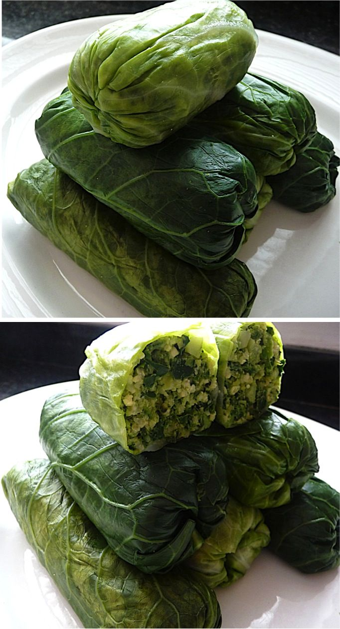Vegan Stuffed Cabbage filled with chopped broccoli, kale & spinach, plus millet, frozen peas, pine nuts and basil