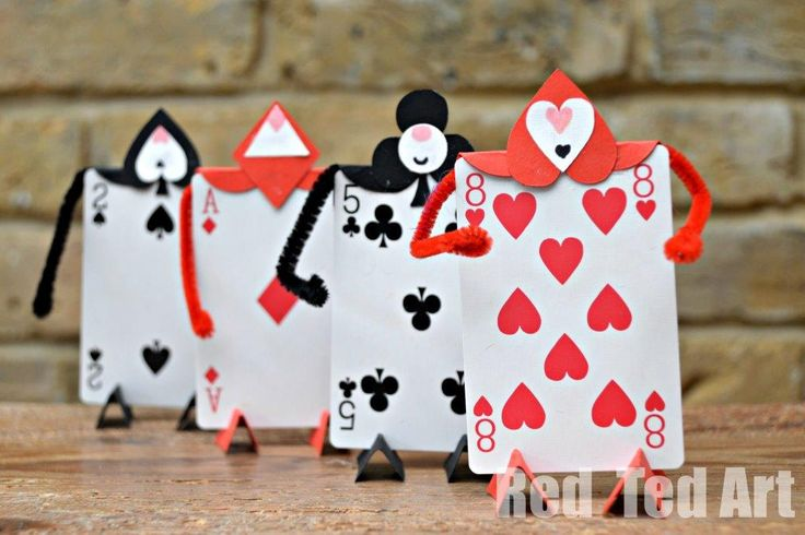 Soldier Card Craft for an Alice in Wonderland Party-make SWAPS with mini playing cards. So cute!